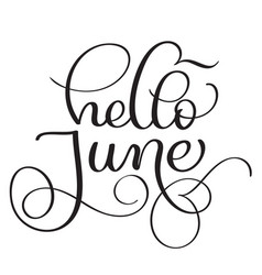hello june text on white background vintage hand vector image vector image