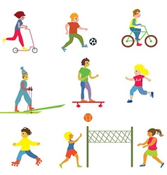 People making different sports - funny design vector image vector image
