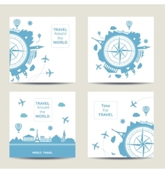Set of four travel card templates Square cards vector image vector image