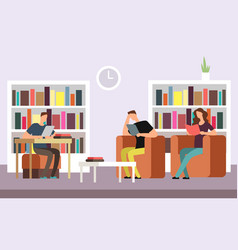 students reading and searching books in public vector image vector image