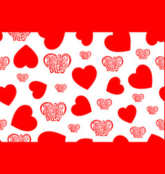 Valentines day seamless pattern design red on vector