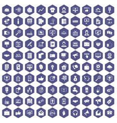 100 help desk icons hexagon purple vector image vector image