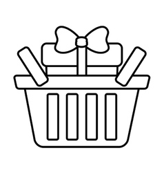 basket shop with gift box ribbon outline vector image