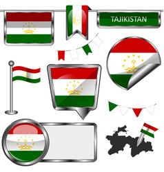 glossy icons with flag of tajikistan vector image vector image