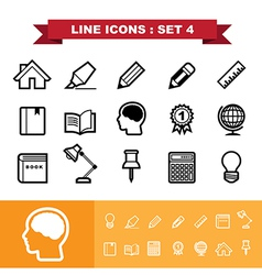 Line icons set 4 vector image vector image