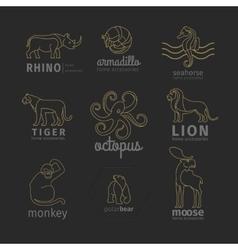Outline linear animals logos set vector