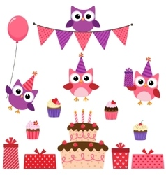 Party owls pink set vector image vector image