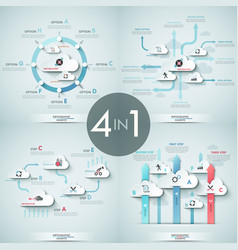 set of 4 infographic design templates with white vector image