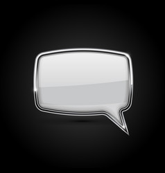 speech bubble white icon with metal frame on vector image