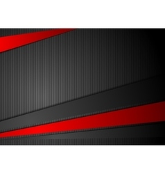 Tech black background with contrast red stripes vector