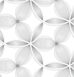 3D white circle grid and striped flowers vector image
