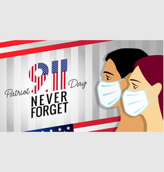 911 never forget patriot day light stripes vector