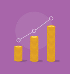 a business profit increasing with gold coin and vector image