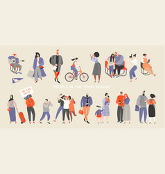 a set people spending time in town square vector image