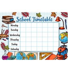 Back to school sketch timetable schedule vector