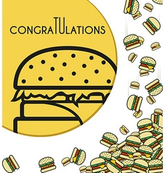 Background falling burgers for design cards and vector