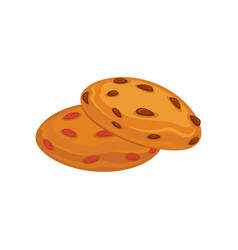 Biscuits with pieces of chocolate and caramel vector