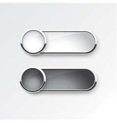 black and white button sliding on white background vector image