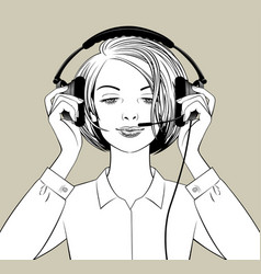 blonde girl puts on headphones with a microphone vector image