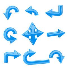 blue 3d arrows different directions vector image