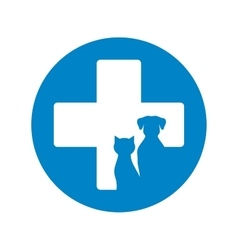 blue veterinary icon with pets vector image