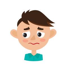 Boy upset face expression cartoon vector