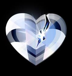 Broken ice heart-crystal vector