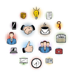 business comics icons vector image