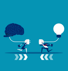 Business team try to connect brain and light bulb vector