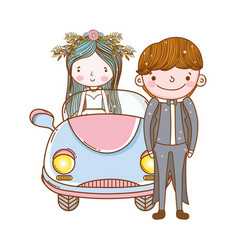 Car couple marriage cute cartoon vector