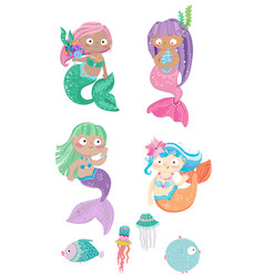 Cartoon colorful mermaids set with fish and vector