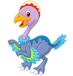 Cartoon happy archaeopteryx waving vector