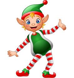 cartoon little elf posing vector image