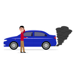 Cartoon man standing car with smoke exhaust pipe vector