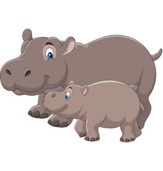 Cartoon mother and baby hippo vector