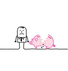 Cartoon poor man with broken piggy bank vector