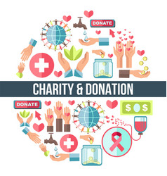 Charity and donation promo round emblem composed vector