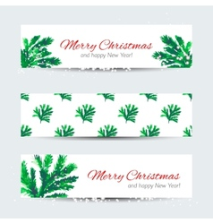 Christmas banners with cristmas tree branches vector image