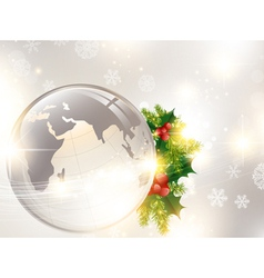 christmas holiday background with world globe vector image