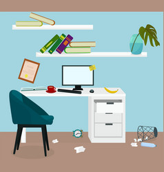 Clutter in workplace vector