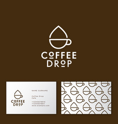 coffee drop cafe linear flat icon vector image
