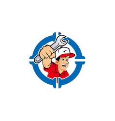 Creative logo design male mascot fix water pipe vector
