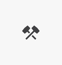 Crossed blacksmith hammer icon isolated on white vector