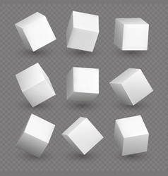 Cube 3d models in perspective realistic white vector