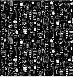 Dishware Doodles White on Black Sketchy Seamless vector image