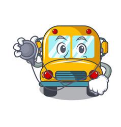 Doctor school bus character cartoon vector