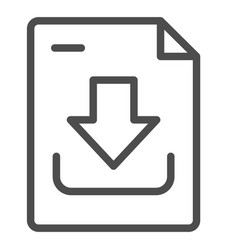 Download document line icon downloading file vector