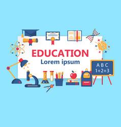 education horizontal flat banner vector image