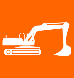 Excavator white icon vector