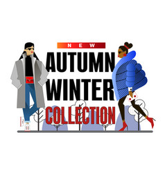 fashion concept banner with trendy girl vector image